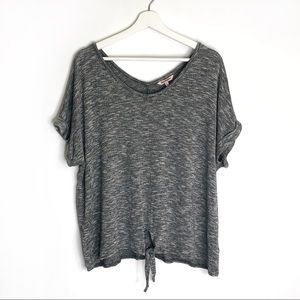 Juicy Couture Grey Tie Front Short Sleeve Top